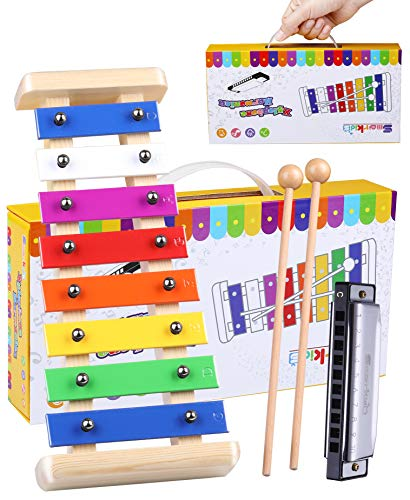 Smarkids Wooden Xylophone for Toddlers & Harmonica Set...