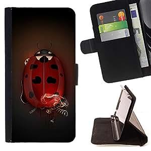 BullDog Case - FOR/Samsung Galaxy Core Prime / - / Big Ladybug /- Monedero de cuero de la PU Llevar cubierta de la caja con el ID Credit Card Slots Flip funda de cuer