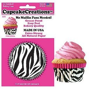 CupcakeCreations Cupcake Liners 32 Ct. Standard - Pink Zebra