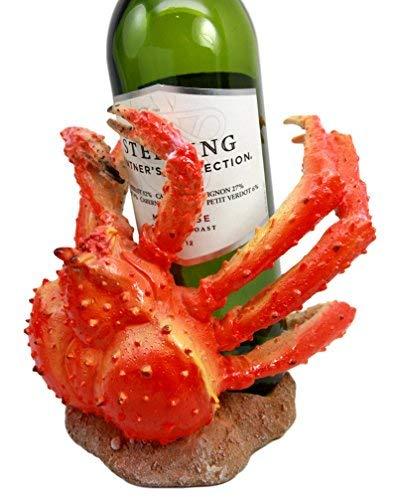 Ebros Nautical Coastal Giant Spider Anthropod Crab Wine Bottle Holder Caddy Figurine Home Kitchen Dining Party Hosting Decor Sea Life Marine Crustacean Statue