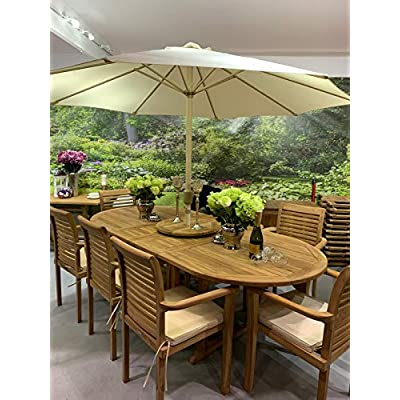 Kingsley Smythe Teak Patio Dining Set 8 Seater with Cushions and Parasol