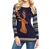 Christmas Tops, Women's Casual Long Sleeve Round Neck Deer Printed Tops Blouse T-Shirts By Quistal