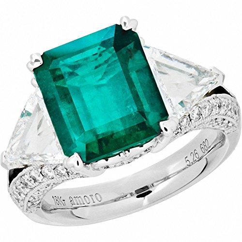 Amoro-18k-White-Gold-Colombian-Emerald-Ring-and-Diamond-Ring-097-cttw-G-H-ColorVS2-SI1-Clarity