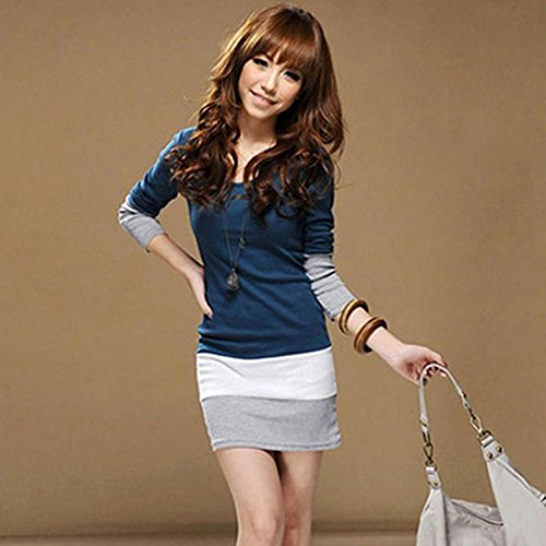 GOTD Womens Casual Long Sleeve Bodycon Stripe Cocktail Party Mini Dress (M, Blue) by GOTD (Image #3)