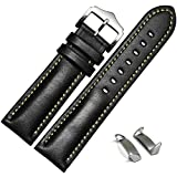 Voberry Genuine Leather Watch Band Strap + Lugs Adapters For Samsung Galaxy Gear S2 SM-R720 (Black)