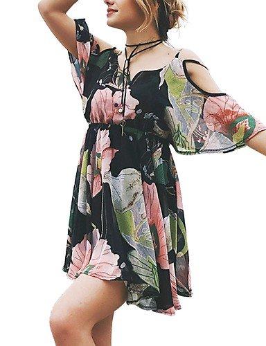 SHAUIGUO Vestido formal de noche para mujer, estilo vintage, estilo bohemio, manga de murciélago, vestido de gasa, estampado floral, m