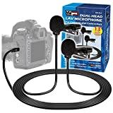 Vidpro XM-DLC Dual-Head Interview Lavalier Microphone for DSLR Cameras & Camcorders