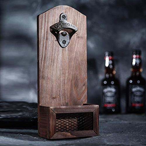 Bottle Opener with Cap Collector Catcher,Vintage Wooden Wall Mounted Bottle Opener,Ideal Gift for Men and Beer Lovers, Use as Bar Decoration. ()