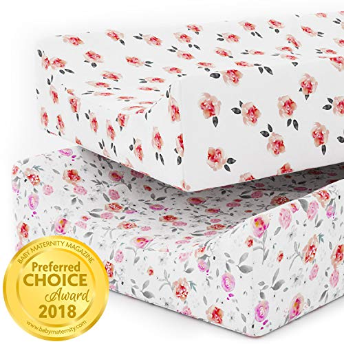 Changing Pad Covers Sheets - Premium Jersey Knit Cotton Change Pad Covers - Super Soft - Safe for Babies - Diaper Changing Pad Cover for Baby Change Table Pads - 2 Pack Girl Cradle Sheet Set - Petal