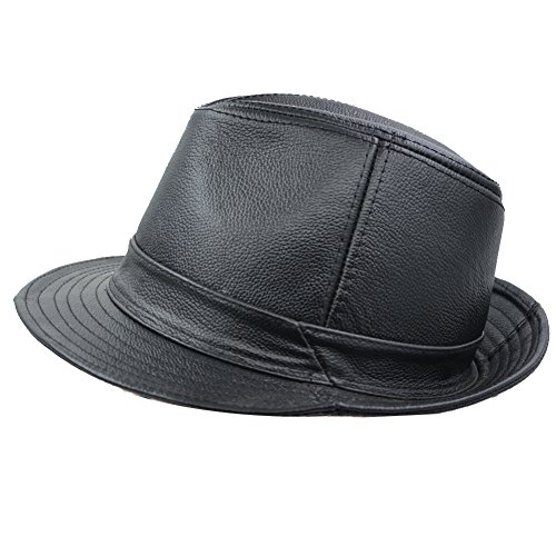 IFSUN Men & Women's Cowhide Jazz Hat Short Brim Suede Leather Fedora Hat]()