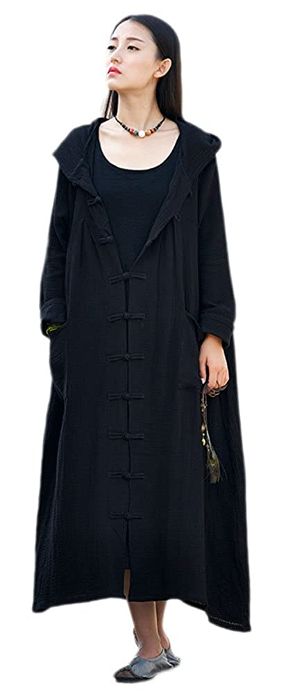 Soojun Womens Long Sleeve Chinese Frog Button Hooded Coat with Pockets