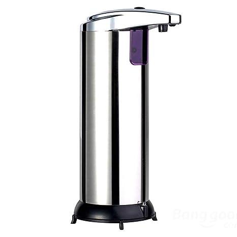 Dispensador de jabón automático, dispensador de mano de acero inoxidable con sensor de movimiento por