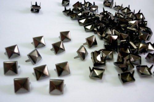 100pcs Pyramid Studs Spots Punk Spikes for DIY Craft Black LW