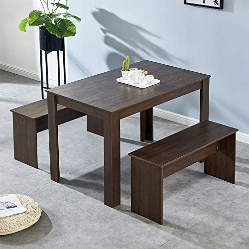 HomeSailing 3 Pieces Wooden Dining Table and 2 Benches Set