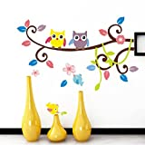 Hatop Owl Cartoon Animals Birds Nursery Wall Art Stickers Decal Home Decor Boys and Girls Children Courtyard Baby Kid's Room (B)