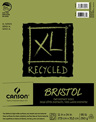 Canson XL Series Recycled Bristol Paper Pad, Dual Sided Smooth and Vellum for Pencil, Marker or Ink, Fold Over, 96 Pound, 11 x 14 In, White, 25 Sheets