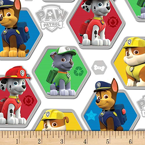 - David Textiles Paw Patrol Rescue White/Multi Fabric Fabric by the Yard