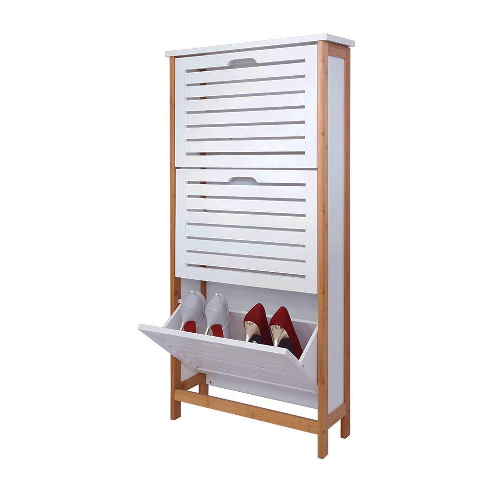 Zri Bambou Organiseur de tiroir Armoire de rangement à chaussures Avec 3portes Pull Down pour couloir sur pied Blanc LTD