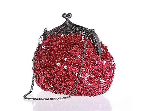 Rouge chaînes Sac fête Mariage Femme à Petit CW0004 à de Moontang Rouge soirée bandoulière pour coloré pour Taille avec et Vineux Rouge Pochette Paillettes 2 avec qSdxxO