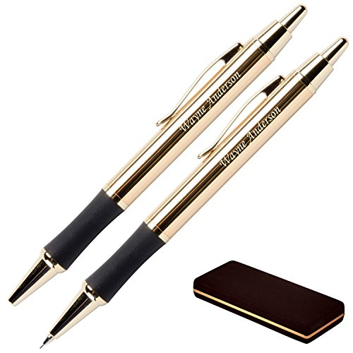 Dayspring Pens - Personalized Monroe 18 Karat Gold Plated Gift Pen and Pencil Set. Custom Engraved Fast, Great Gift for Man or Woman with Real Gold Plating. Case Included