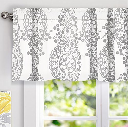 "DriftAway Samantha Window Treatment Valance, Floral/Damask Medallion pattern, Rod Pocket, 52""x18"" (Bedroom Valance)"