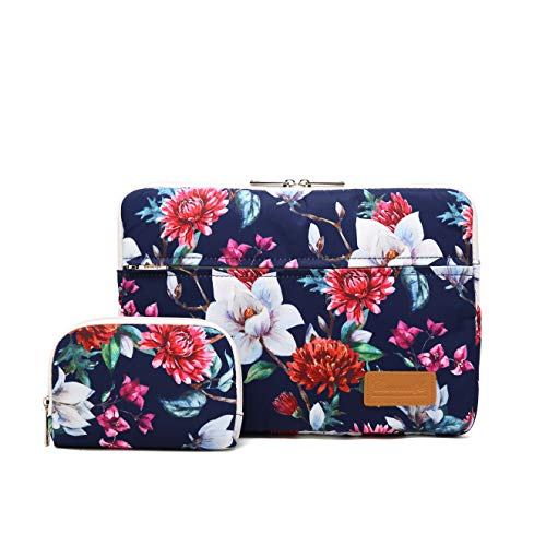 Canvaslife Carnations Pattern 360 Degree Protective 13 inch Canvas Laptop Sleeve with Pocket 13 Inch 13.3 Inch Laptop Case