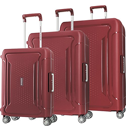 - American Tourister Tribus 3 Piece Hardside Spinner Luggage Set (Red)
