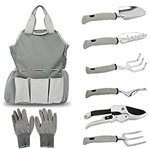 Kuke 8 Pcs Garden Tools Set With Garden Tote Bag And Work Gloves Gardening Gifts Tool Set With Trowel, Cultivator, Transplanter, Fork, Weeder And Pruning Shears Grey
