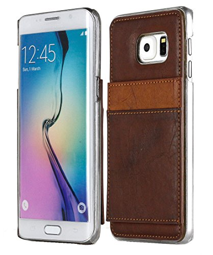 Galaxy S6 Edge Plus Case, Aceabove [KICKSTAND][Dark Brown] Slim Protective Leather Wallet Cover Case with Stand Feature and Credit Card ID Holders wallet case Samsung Galaxy S6 Edge+ / Plus