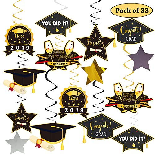 Graduation Hanging Decorations Foil Swirl Kit,Big Pack of 33 No DIY Required,Black Gold/Yellow and Silver/White Colorful College Graduation Decoration Party Supplies 2019,Congrats Graduate,You Did It -