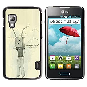 Paccase / SLIM PC / Aliminium Casa Carcasa Funda Case Cover - Bag Antlers Sad Emo Ugly Drawing - LG Optimus L5 II Dual E455 E460