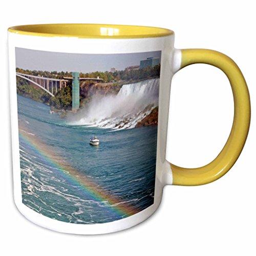 3dRose Danita Delimont - Niagara Falls - Ontario, Niagara Falls. Maid of the Mist boat, rainbow-CN08 LSE0000 - Lynn Seldon - 11oz Two-Tone Yellow Mug - Outlet Falls Niagara Ontario