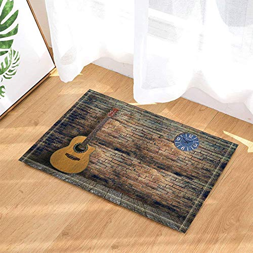 Gray Wooden Board, Brown Brick, Brown Wall, Brown Guitar, Blue Clock 3D Digital Printed Bathroom Anti-Slip mat Front Kitchen Living Room Accessories