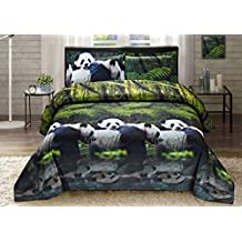 HIG Luxurious 3D Bed Sheet Set Wild Life Animals,Flowers and Scenery Print Panda Mom and Kid in Queen King Size (Queen, PANDA-Y29)