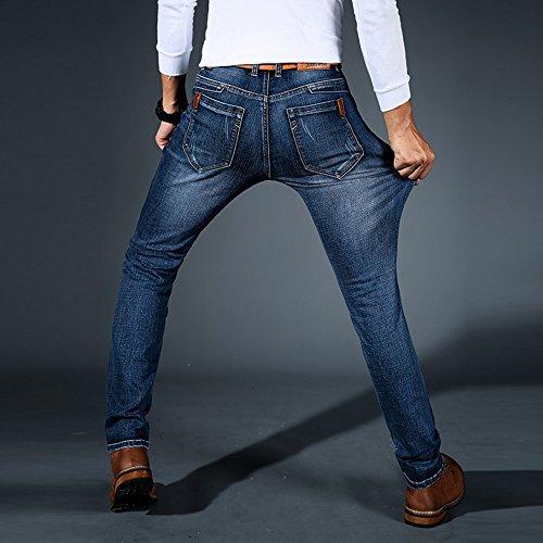 LIEBE721 Hombres Pantalones Pantalones largos Mezclilla Derecho Ajuste regular Algodón Clásico Tramo Casual Ropa de… BBkw2