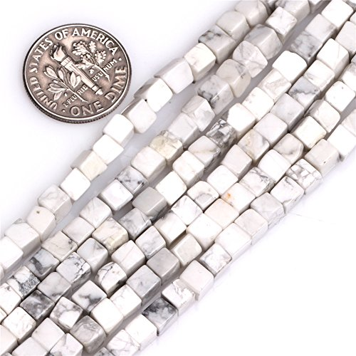 JOE FOREMAN 4mm White Howlite Stone Semi Precious Gemstone Cube Loose Beads for Jewelry Making DIY Handmade Craft Supplies 15