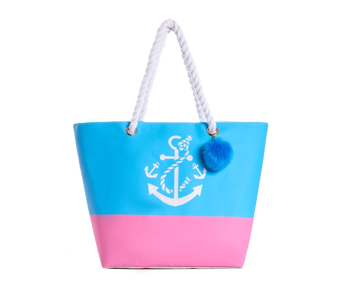 Waterproof Large Tote Beach Bag for Women Cotton Handles with Pompom (Pink)
