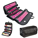 BeneU Makeup Bag Cosmetic Hanging Organizer Roll N Go Roll Up Foldable Clear Case Pouch Toiletry Organizer Multifunction Large Capacity for Cosmetics, Jewelry, Travel Accessories, Electronics(Black)