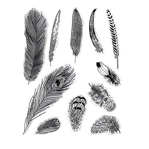 - Different Feather Designs Fur Stamp Rubber Clear Stamp/Seal Scrapbook/Photo Album Decorative Card Making Clear Stamps