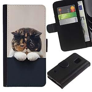 KingStore / Leather Etui en cuir / Samsung Galaxy S5 V SM-G900 / Gatito so?oliento lindo gato del animal doméstico felino Paw