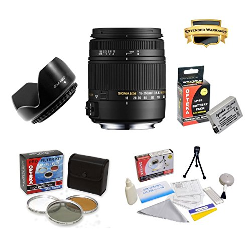 Sigma 18-250mm f/3.5-6.3 DC OS HSM IF Lens Specific for the Canon EOS Rebel T2i T3i T4i T5i 550D 600D 650D 700D Kiss X4 X5 X6 X6i X7i DSLR Digital Camera Includes PRO HD 3PC Filter Kit + 7 Year Lens Warranty + Flower lens Hood + Extended 2000MAH LP-E8 Bat by SIGMA