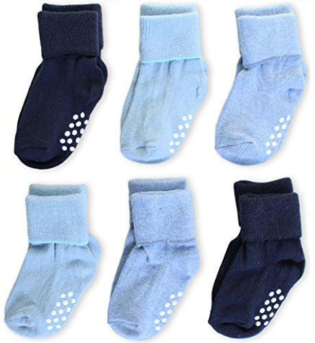 Aymoon Socks Baby Boys-Girls Non-Skid and Anti-Slip Turn Cuff Pack of 6 Multi-Color (12-24, Boys' Navy-Blue (Turn Cuffs Non Skid)