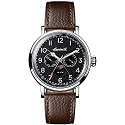 Ingersoll Men's Quartz Stainless Steel and Leather Casual Watch, Color:Brown (Model: I01601)
