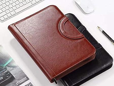 mit Klemmbrett und Taschenrechner A4 Konferenzmappe aus PU-Leder mit Rei/ßverschluss Gesch/äftsreisen Schwarz f/ür das Homeoffice