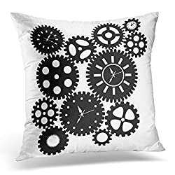 Duplins Throw Pillow Case Square Home Decor Pillowcase Watch Time Clock Gears Clipart Black Silhouette White Abstract Decorative Pillow Cover 18x18 Inches