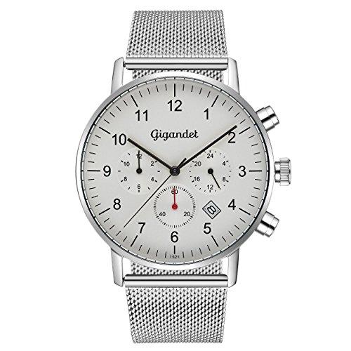 Gigandet Men's Quartz Watch Minimalism II Dualtime Analog Stainless Steel Bracelet Silver G21-005