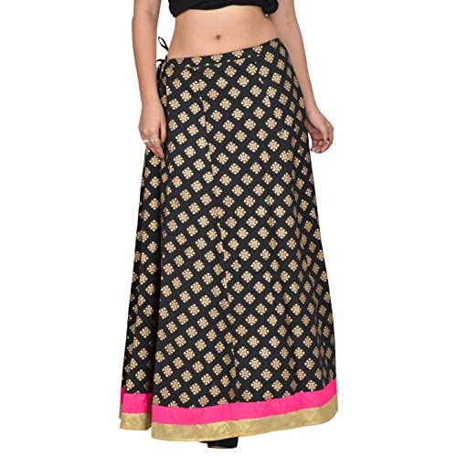 E-Tailor Women's Rang-Rej Collection Ethnic Maxi Party Wear Free Size Cotton Skirt (Black, Golden and Pink) free shipping
