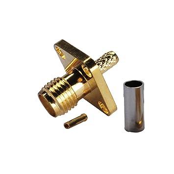 PC-Case 5pcs cable coaxial RF Cable eléctrico Terminal Conector SMA Hembra Panel de 4 agujeros brida de aleación de cobre Crimp para RG174 RG316 LMR100: ...