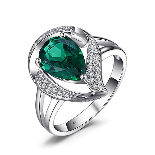 JewelryPalace Pear 1.9ct Simulated Green Nano Russian Emerald Ring Solid 925 Sterling Silver Size 7