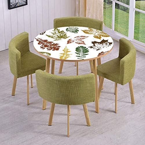 (Round Table/Wall/Floor Decal Strikers/Removable/Autumn Spring Maple Oak Various Tree Leaves in Grunge Style Art Decorative/for Living Room/Kitchens/Office Decoration)